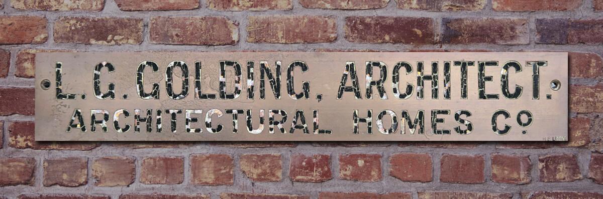 Leonard Golding Architect - Original Name Plate
